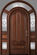 Арочная дверь с витражом